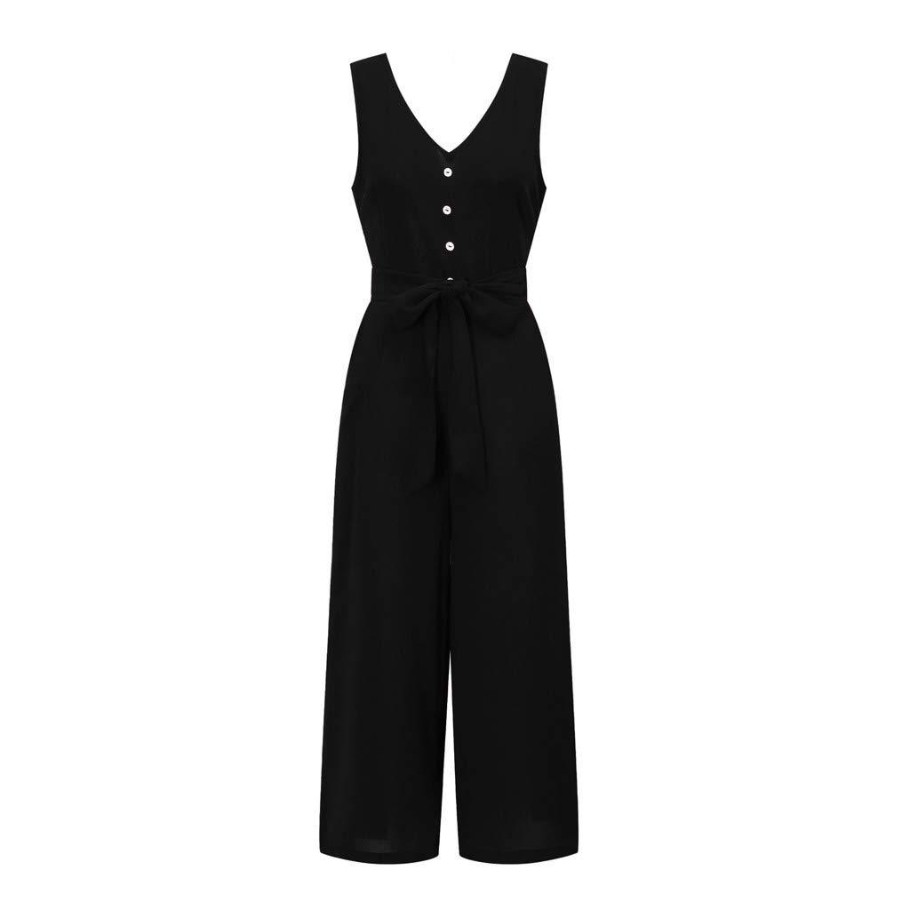 FINME Women Sleeveless Button Backless High Waisted Wide Playsuits Beach Jumpsuit