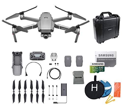 DJI Mavic 2 Zoom Drone Quadcopter Bundle with 2 Batteries, 128GB MicroSD Card Supports 4K Video, Landing Pad, Waterproof Hard Carrying Case