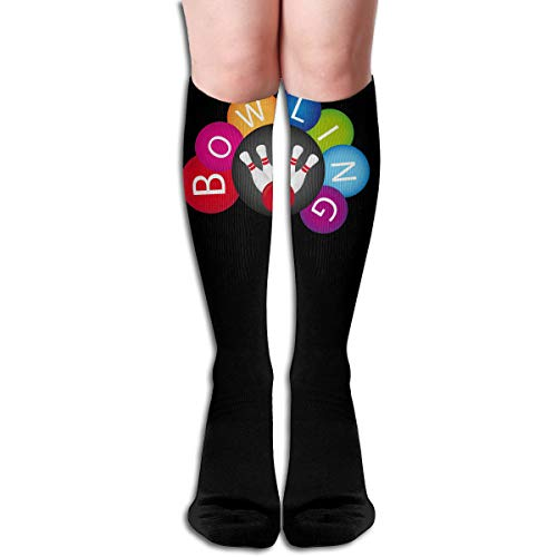 Huangwei Over Knee High Tube Stockings Bowling Ball Clipart Long Tube Socks Compresson Socks for Women and Girls