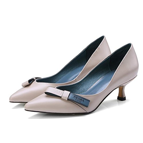 GAOLIXIA Zapatos de mujer de tacones altos de cuero de tacón bajo Zapatos de tacón de aguja de moda de primavera Cuatro temporadas Zapatos de trabajo Zapatos de corte de bombas Creamy-white
