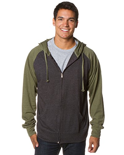 - Global Blank Lightweight T-Shirt Material Raglan Zip Up Hoodie with Pockets Charcoal/Army M