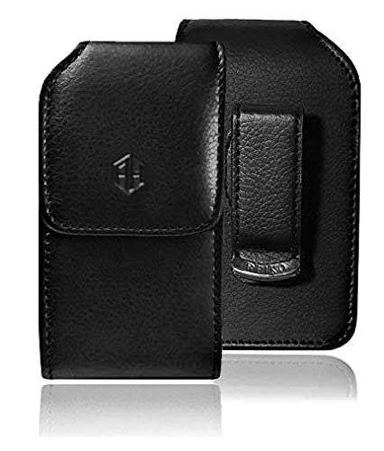 AccessoryHappy Vertical Leather Belt Case, 360 Rotating PU Leather Flip Phone Pouch Case Hip Holster Belt Clip Case Fits Most FLIP Phones (Black)