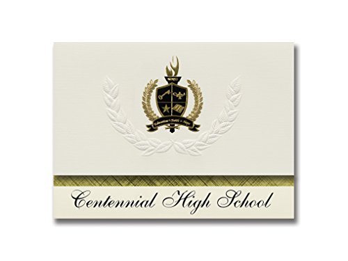 Signature Announcements Centennial High School (Boise, ID) Graduation Announcements, Presidential style, Basic package of 25 with Gold & Black Metallic Foil seal by Signature Announcements