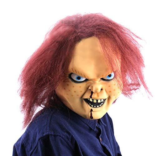 Scary Child's Play Mask Adult Latex Full Head Mask with Wig Halloween Ball Props -
