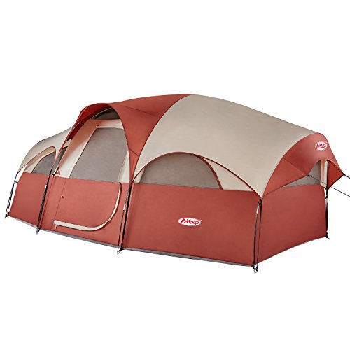 Keep 8-Person Tent – Quick & Easy Setup Camping Tent, Professional Waterproof & Windproof Fabric, Anti-UV, 5 Large Mesh for Ventilation, Double Layer, Lightweight & Portable with Carry Bag, Red