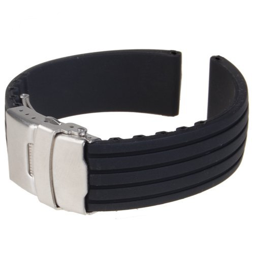 Black Silicone Rubber Watch Strap Band Deployment Buckle Waterproof