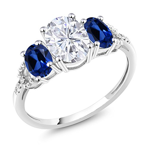 10K White Gold 3-Stone Ring Forever Brilliant (GHI) Oval 1.50ct (DEW) Created Moissanite by Charles & Colvard and Simulated Sapphire (Size 6)