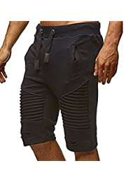 RUEWEY Men's Cotton Gym Active Bodybuilding Workout Shorts with Pockets