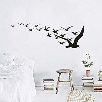 ASFGA Silueta única Vinilo Volador Pegatinas de Pared Sala de Estar decoración de la Pared pájaro migración Animal habitación de los niños Ganso Salvaje Ganso Salvaje Mural 88x30cm