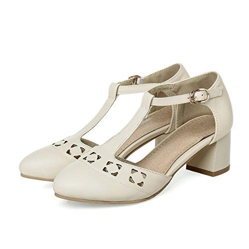 Closed Solid Soft Toe Sandals Pointed AgooLar Kitten Buckle Heels Material Beige Women's wxqEq87O