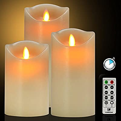 "Flameless Candles Battery Operated Candles with Remote Timer of 24-H Flickering Flameless Candles Set of 3(4""5""6"")for Parties Gifts and Decoration Use-Comenzar"