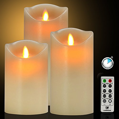 Flameless Candles Battery Operated Candles with Remote Timer of 24-H Flickering Flameless Candles Set of 3(4