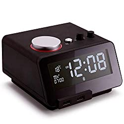 Homtime Multi-Functional Alarm Clock Radio and Bluetooth Speaker with Dual USB Charger Dimmable LCD Screen Thermometer Personalized Alarm Ring for Bedrooms (Black)