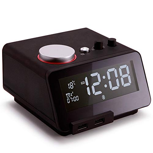 Black Fm Speaker - Homtime Multi-Functional Alarm Clock Radio and Bluetooth Speaker with Dual USB Charger Dimmable LCD Screen Thermometer Personalized Alarm Ring for Bedrooms (Black)