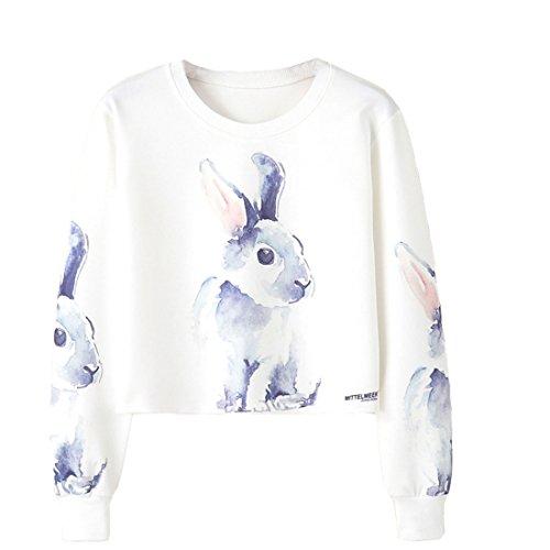 ACVIP Animal Print Round Neck Long Sleeve Crop Top Sweatshirts for Women and Girls (Rabbit, US 2/Chinese (Rabbit Kids Sweatshirt)