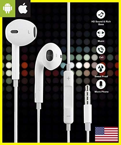 2020 Upgraded Version Extra Bass Wired Earphone Earbud Portable Headphone Sports Running Sweatproof Compatible iOS Android Smartphone Active Noise Cancellation 3.5mm Jack in-Ear Headphones White