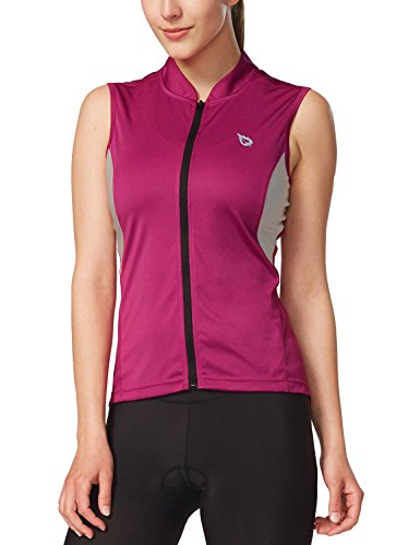 Jersey Womens Pink T-shirt - Baleaf Women's Sleeveless Cycling Jersey UPF 50+ Hot Pink Size M