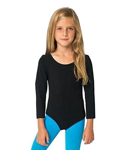 Mädchen Baumwolle Langarm Trikots dehnbar Tanz / Gymnastik / Ballett Sport Farbe & Größen(Girl's Longsleeve Bodysuit) (9-10 Jahre(Years), Schwarz(Black))