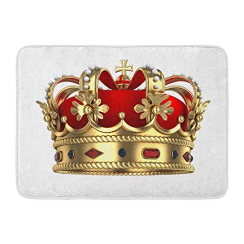 (Emvency Doormats Bath Rugs Outdoor/Indoor Door Mat Red King Royal Gold Crown Queen Royalty Monarchy Rendered Medieval Bathroom Decor Rug Bath Mat 16