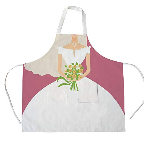 iPrint Cotton Linen Apron,Two Side Pocket,Bridal Shower Decorations,Wedding Day Bride with White Dress and Flowers Image,Dark Coral and White,for Cooking Baking Gardening -