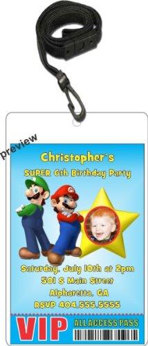 Amazoncom Super Mario Luigi VIP Pass Invitation with Lanyard
