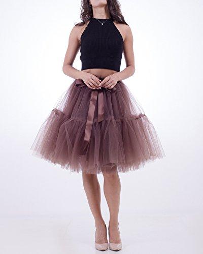 Petticoat Principessa Gonna Marrone gonna Danza Tulle Donna Comall di Strati Tutu Balletti 5 in Sottogonna IwO6fvSq