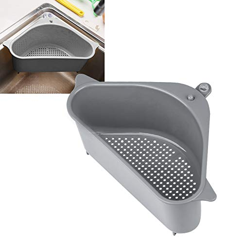 Sink Strainers Basket Kitchen Drain Shelf Sink Storage Holder with Suction Cup for Support Corner (1pc gray)