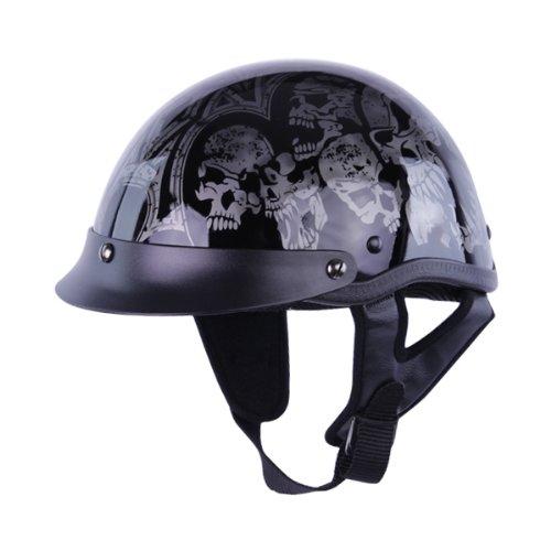 Hci Half Helmet (Half Helmets - HCI-100 Silver Screaming Skulls Half Helmet XL)