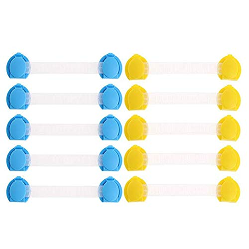 10 Pack Baby Safety Lock, Kicpot Awashing Machine Child Lock Proof Cabinet Locks with 3M AdhesiveNon-toxic Adjustable Strap Latches for Drawers, Cupboard, Fridge, Door 5 Yellow + 5 Blue