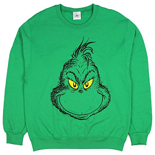 The Grinch Sweater Grinch Face Christmas Pullover Sweatshirt (Large), Green ()