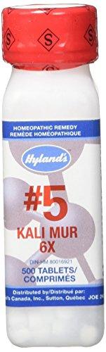 Hyland's Cell Salts #5 Kali Muriaticum 6X Tablets, Natural Relief of Colds, Sore Throat, Runny Nose, and Burns, 500 Count (Homeopathic Medicine Sore Throat)