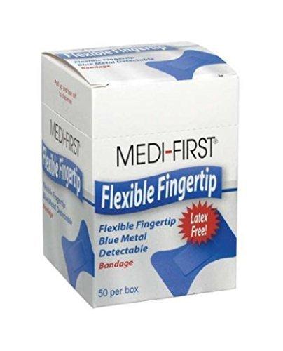 Medique Products 66050 Metal Detectable Bandages, Woven Fingertip, Blue, 50-Per Box ()