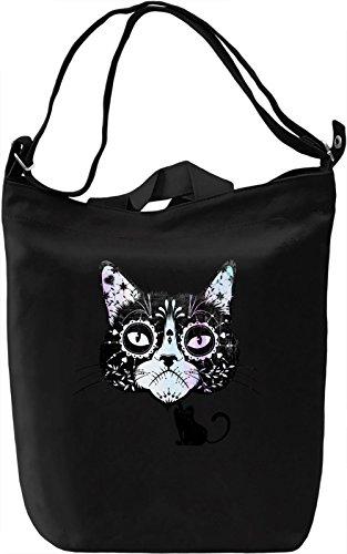 Sugar Skull Cat Borsa Giornaliera Canvas Canvas Day Bag| 100% Premium Cotton Canvas| DTG Printing|