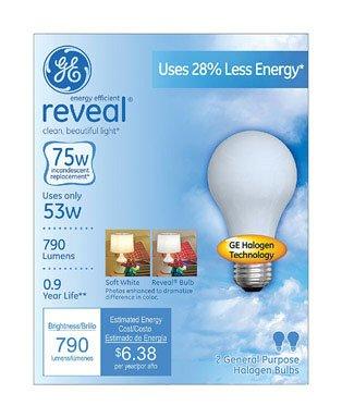 Ge Reveal Halogen Bulb White 53 W 790 Lumens A19 Med Base 2 Pack