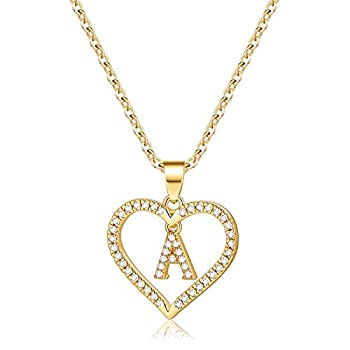 IEFSHINY Initials Letter Necklace for Girls Women, 14k Gold Crammed Preliminary Letter Plated Appeal Necklaces CZ Pendant Love Coronary heart Alphabet Necklace for Girls Teen Women