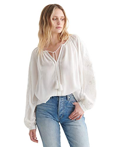 Lucky Brand Long Sleeve Cutwork Peasant Top Dames Bloes