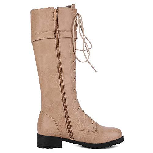 910813302b8 ... Knight Boots À Lacets Pointure Bottes Kaki Chaussures En Cuissardes  Plate Large Cuir Coolcept Femmes RqP7w5 ...