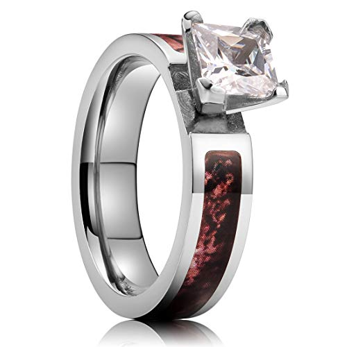 Pink Zircon Ring - NaNa Chic Jewelry 4mm Silver Titanium Ring Inlaid with Zircon Pink Camo Sticker 10.5