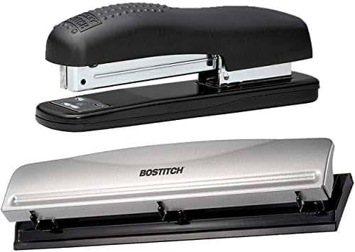 Bostitch Office Bundle: Metal Hole Punch (12 Sheet Capacity) & Ergonomic 20 Sheet Desktop Stapler