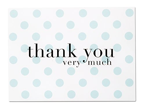 Baby Shower Thank You Cards for Baby Boy - 36 Blue Polka Dot Blank Note Cards with White Envelopes (Baby Blue) by Luxye