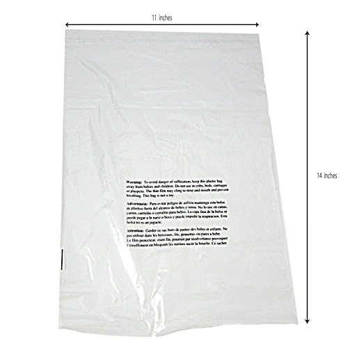 11 x 14 Self Sealing Clear Poly Bags Suffocation Warning Bags 1.5mil - 100, 500, or 1000 Bags (100 Bags)