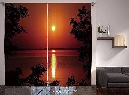 Thermal Insulated Blackout Window Curtain [ Nature,Sunset Horizon Skyline Reflection on the Sea Rural Fresh Dramatic View,Red Scarlet Vermilion ] for Living Room Bedroom Dorm Room Classroom Kitchen Ca