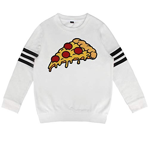 Daylight Kids White Crewneck Cotton Long Sleeve Sweatshirt Italian Family Vegetarian Pizza Pullover for Boys and -