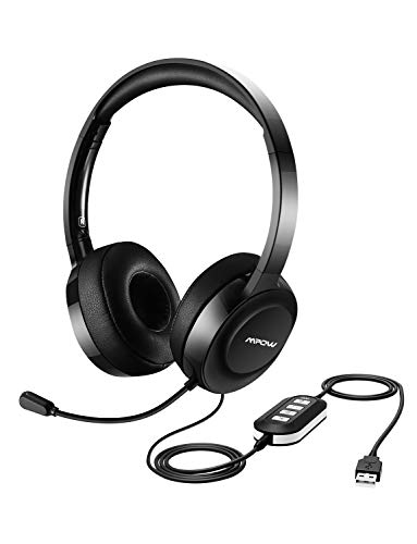 Mpow 158 Gen-2 USB Headset/ 3.5mm Computer Headset, Noise Cancelling Headset with Monitoring Mode, Lightweight On-Ear Headset with Microphone for PC, Cellphone, Tablet