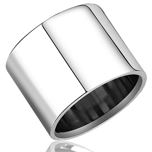 - Fashion Month Mens Womens 18mm Wide Silver Stainless Steel Ring Cool Wedding Engagement Band High Polished Comfort Fit Size 6