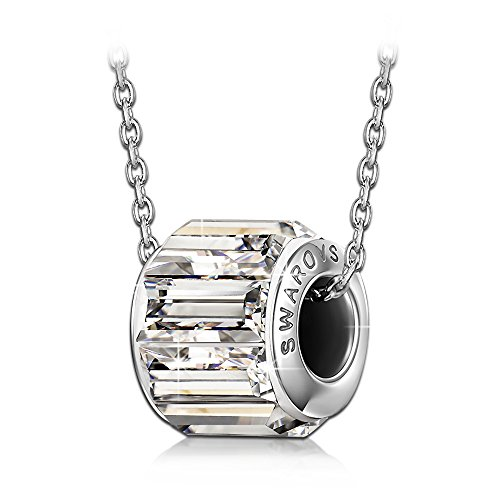 QIANSE 925 Sterling Silver Chain Bead Necklace Made with SWAROVSKI Crystal, pendant necklace, bead charms, birthstone jewelry necklace