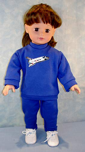 Royal Blue Shuttle - 18 Inch Doll Clothes - Boys or Girls Space Shuttle Sweatsuit Blue handmade by Jane Ellen