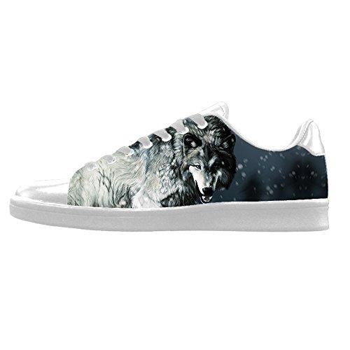 Custom Lupo e luna Mens Canvas shoes I lacci delle scarpe in Alto sopra le scarpe da ginnastica di scarpe scarpe di Tela.