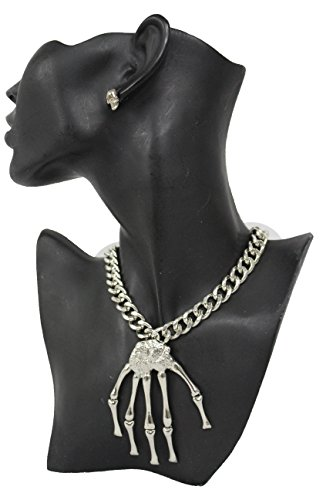 Jennifer Lopez Vegas Costumes (TFJ Women Fashion Necklace Silver Metal Chains Skeleton Skull Hand Fingers Bones Pendant Halloween Charm)