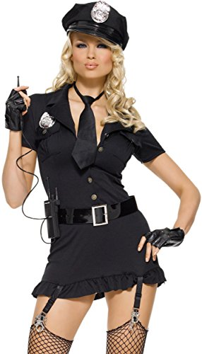 Leg Avenue Women's 6 Piece Dirty Cop Costume, Black, Small/Medium (Women Police Costumes For Halloween)